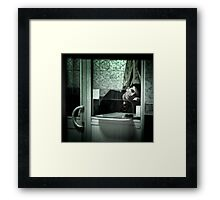 Caught between acts... Framed Print
