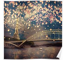 Love Wish Lanterns over Paris Poster