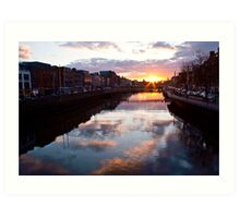 Sunset on the River Liffey - Dublin, Ireland Art Print