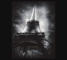 Eiffel Tower, Starry Night, Black and White T-Shirt