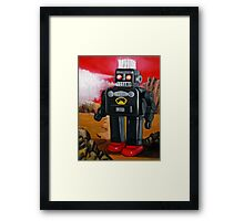 Smoking Robot on Mars Framed Print