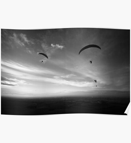 Paragliders, Westbury White horse Poster