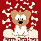 Christmas Dog In Red by Sonia Pascual