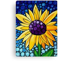 Basking In The Glory - Yellow Sunflower Blue Sky Art Print Canvas Print