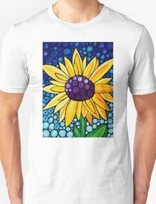 Basking In The Glory - Yellow Sunflower Blue Sky Art Print T-Shirt