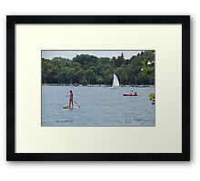 Paddle Boarding on the Lake Framed Print