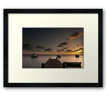 Sunset from the jetty - Bonaire Framed Print
