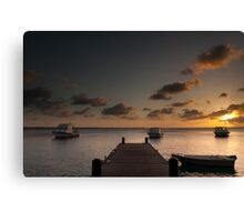 Sunset from the jetty - Bonaire Canvas Print