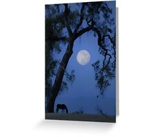 Horse and Full Moon with Oak Tree Greeting Card