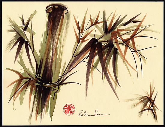 """""""Bamboo Symphony"""" Original acrylic wash & brush pen painting by Rebecca Rees"""