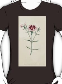 The Botanical magazine, or, Flower garden displayed by William Curtis V1 V2 1787 1789 0058 Dianthus Chinensis, China or Indian Pink T-Shirt