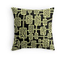 Abstract pattern 041113 - Chalk Yellow on Black Throw Pillow