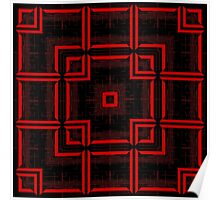 Red and Black Abstract Geometric Pattern  Poster