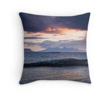 Rum and Eigg at Sunet from Arisaig Throw Pillow