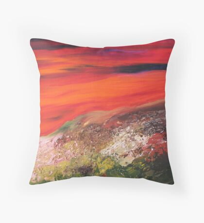 Journey - Acrylic -  Red Sunset Landscape Throw Pillow