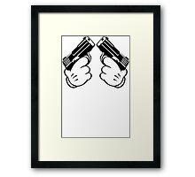 Cartoon Hand Guns Framed Print