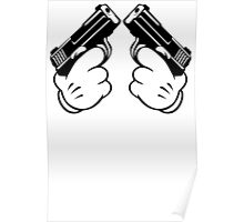 Cartoon Hand Guns Poster