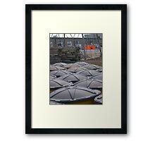 Urban Barrels Framed Print