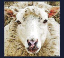 Sheep Art - White Sheep Kids Tee