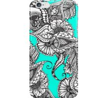 Boho black white hand drawn floral doodles pattern turquoise iPhone Case/Skin