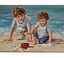 Beach Kids in Pastel Photographic Print