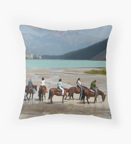 Lake Louise by Horse Throw Pillow