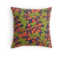 mysterious night in space garden with cherry tomatoes and basil Throw Pillow