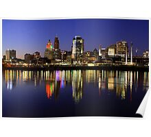 Evening Walk - Cincinnati Night Scene Poster