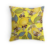 Yellow lemon and bee garden. Throw Pillow