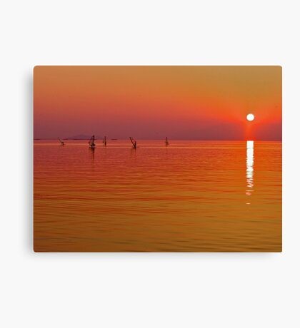 Lake Biwa, Japan: last light. Canvas Print