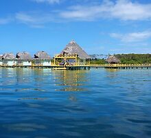 Tropical resort with thatched bungalows by Dam - www.seaphotoart.com