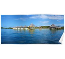 Tropical resort with thatched bungalows Poster