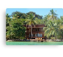 Tropical waterfront beach house Metal Print