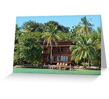Tropical waterfront beach house Greeting Card