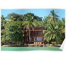 Tropical waterfront beach house Poster