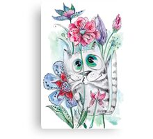 Funny Watercolor Cat with Flowers Canvas Print