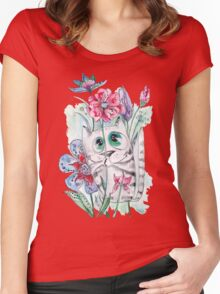 Funny Watercolor Cat with Flowers Women's Fitted Scoop T-Shirt