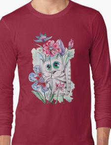 Funny Watercolor Cat with Flowers Long Sleeve T-Shirt