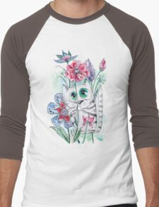 Funny Watercolor Cat with Flowers Men's Baseball ¾ T-Shirt