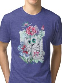 Funny Watercolor Cat with Flowers Tri-blend T-Shirt