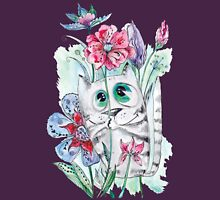 Funny Watercolor Cat with Flowers Womens Fitted T-Shirt