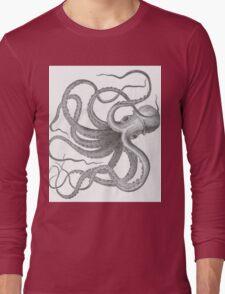 Vintage octopus kraken nautical steampunk preppy goth sea creature print  Long Sleeve T-Shirt