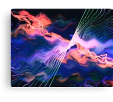 Lightening above the waves Canvas Print