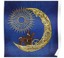 Moon Travel (Blue) Poster