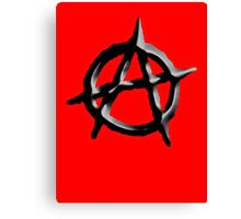 ANARCHY, Revolution, Protest, Disorder, Unrest, Symbol on red in black Canvas Print
