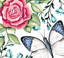 Butterfly and rose by JuliaBadeeva