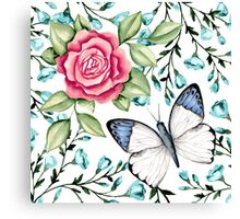Butterfly and rose Canvas Print
