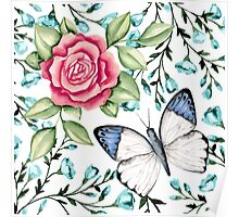 Butterfly and rose Poster