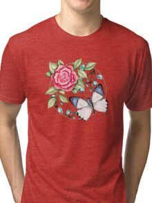 Butterfly and rose Tri-blend T-Shirt