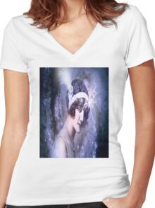 SPACE DREAM Women's Fitted V-Neck T-Shirt
